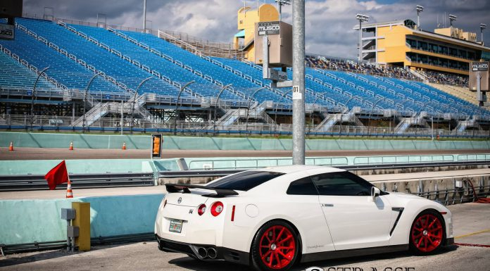 Nissan GT-R Black Edition Lowered on Red Aluminum Strasse Wheels
