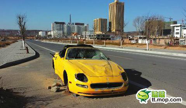 Maserati 4200GT Spyder Found Wrecked and Abandoned in China