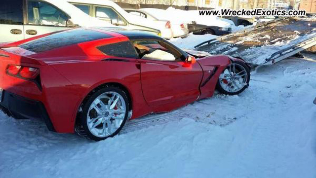 Red C7 Corvette Stingray Crashes in the Snow