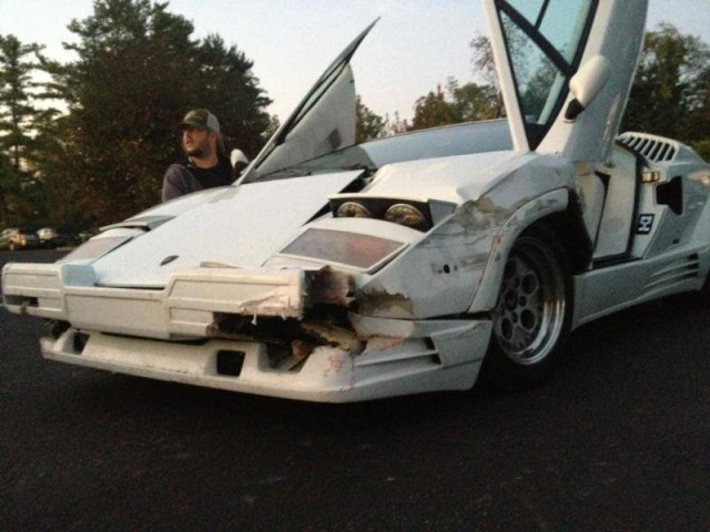 "Real 25th Anniversary Lamborghini Countach Destroyed in the Movie ""The Wolf of Wall Street"""