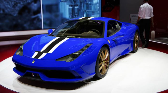 Ferrari 458 Speciale Rendered in Blue with Gold Wheels