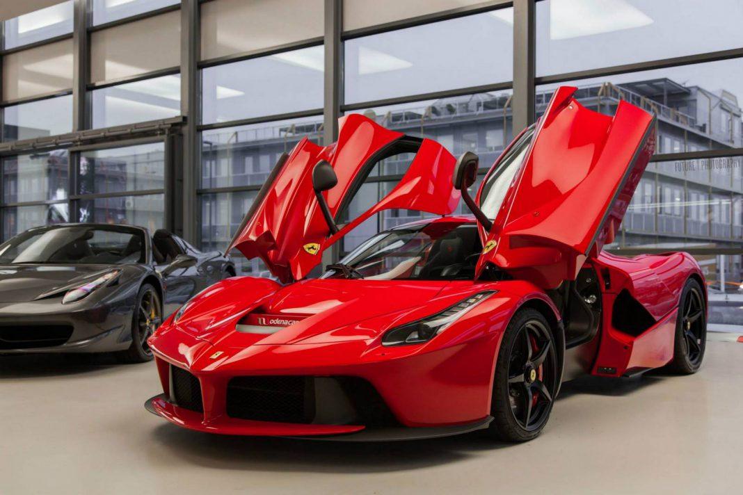 Red Ferrari LaFerrari in Geneva Switzerland