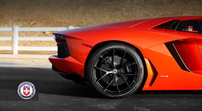 Arancio Argos Lamborghini Aventador on Matte Black HRE Wheels