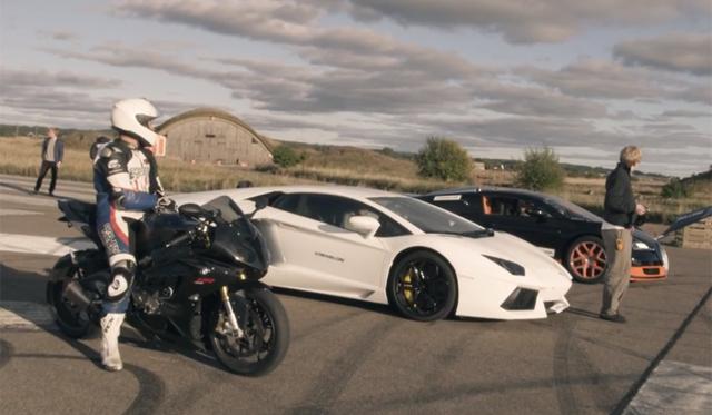 Bugatti Veyron Grand Sport Vitesse vs Aventador vs BMW S1000RR!