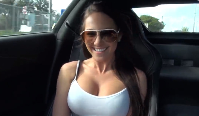 Busty Brunette Model Rides in 2014 Corvette Stingray