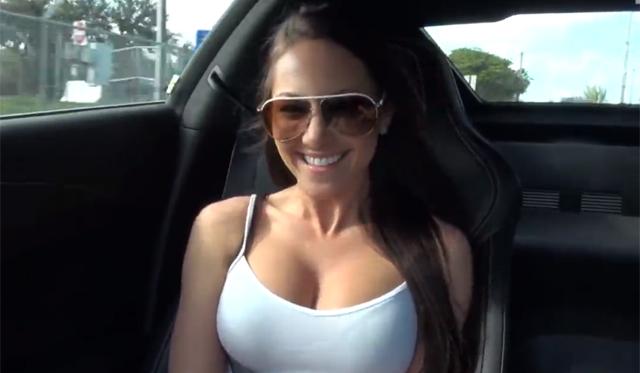 Busty Brunette Model Rides in 2014 Corvette Stingray