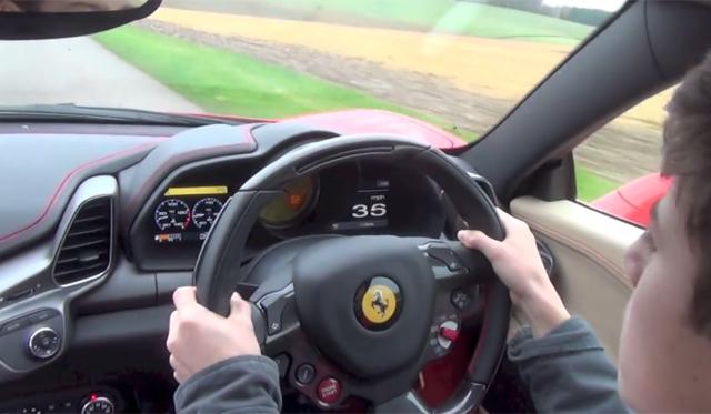 14-Year-Old Drives Dad's Ferrari 458 Italia!