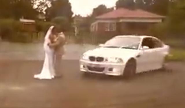 BMW M3 Does Donuts Around Newly Weds!