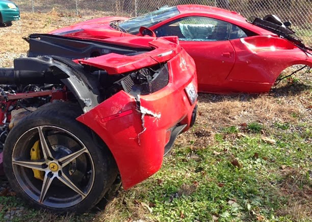 Ferrari 458 Italia Splits In Half in Alabama Crash
