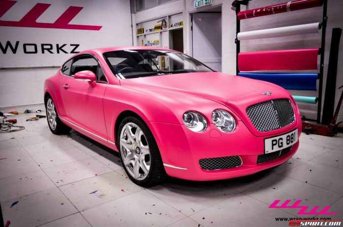 Matte Pink Bentley Continental GT by Wrap Workz Hong Kong