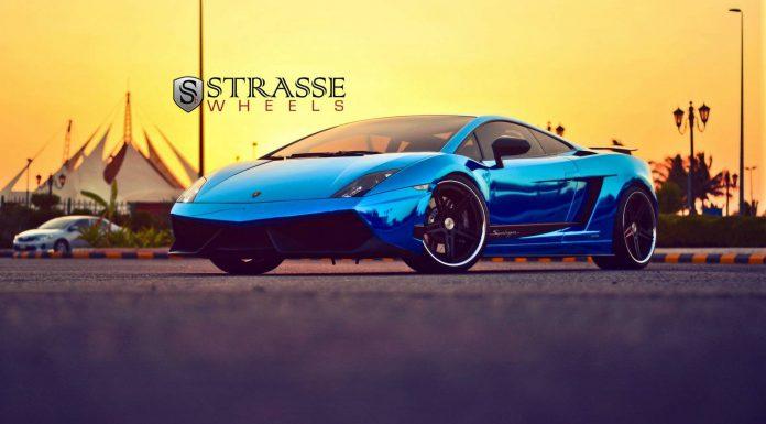 Cromo Blue Lamborghini Gallardo Superleggera Lowered on Strasse Wheels