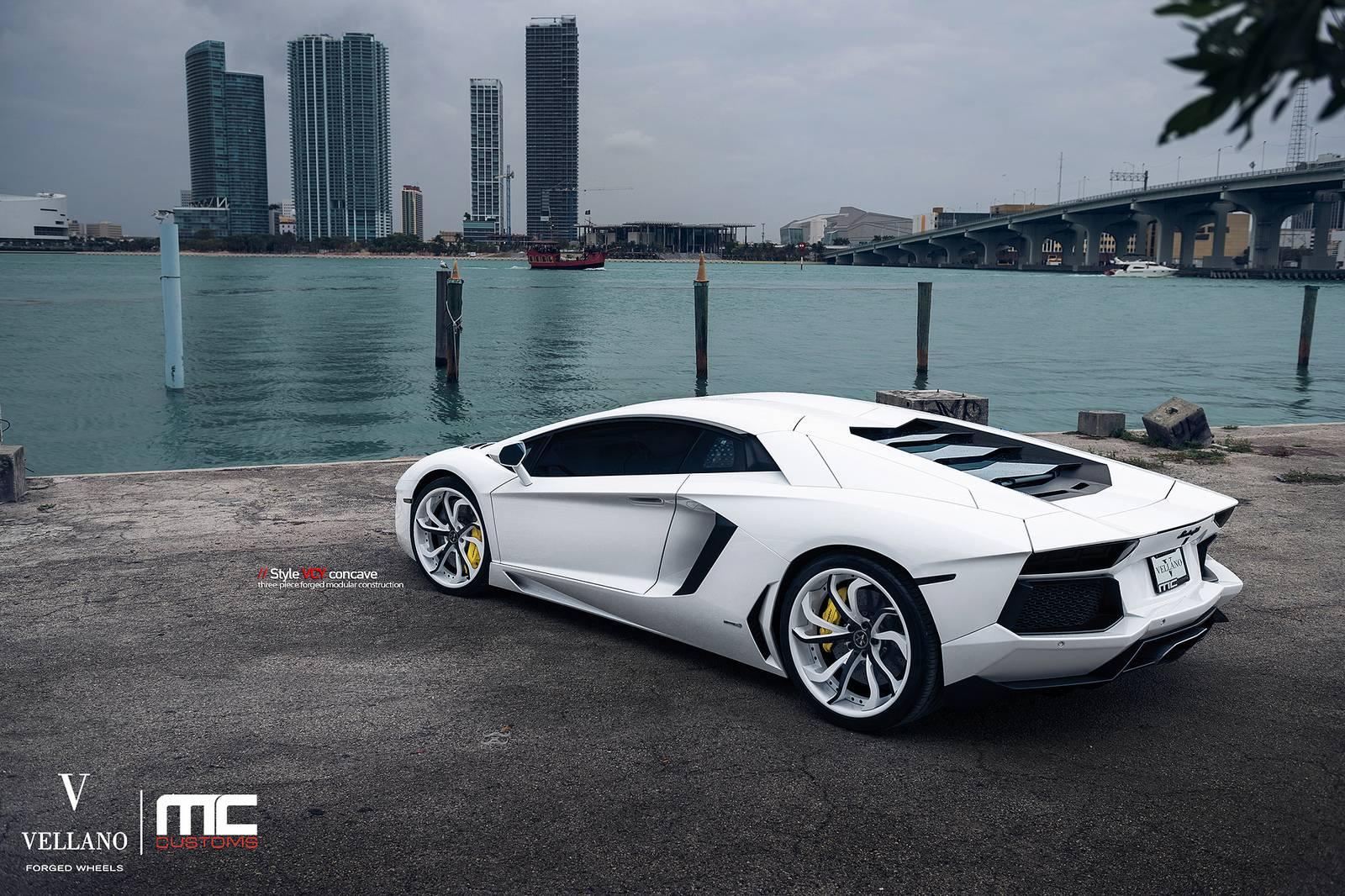 Epic White Lamborghini Aventador on Vellano Wheels - GTspirit
