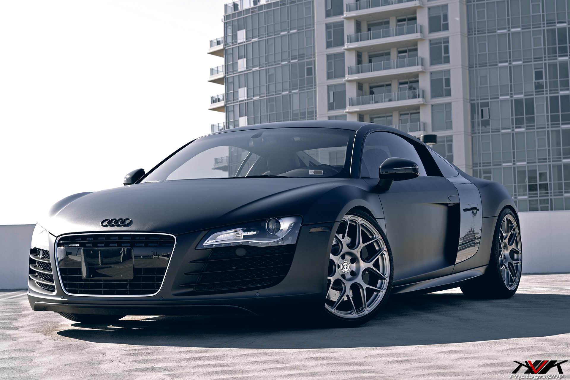 matte black audi r8 on hre p40sc 39 s by kvk photography gtspirit. Black Bedroom Furniture Sets. Home Design Ideas