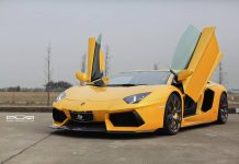 Bright Yellow Lamborghini Aventador on Bronze PUR Wheels
