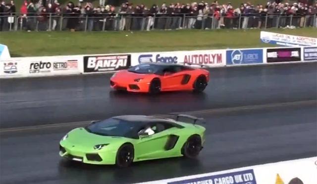 Two Oakley Design Lamborghini Aventadors Race on the Drag Strip