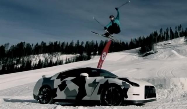 Epic Camo Nissan GT-R Races on the Snow