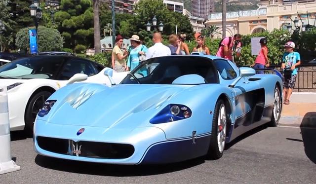 Unique Satin Baby Blue Maserati MC12 Spotted in Monaco