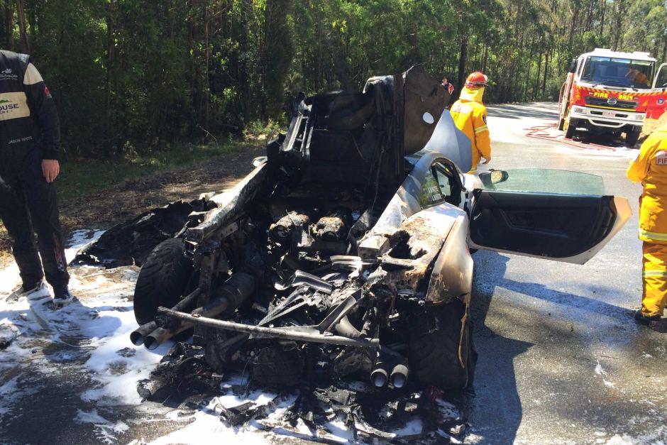 Burnt Lamborghini Gallardo at Targa Wrest Point