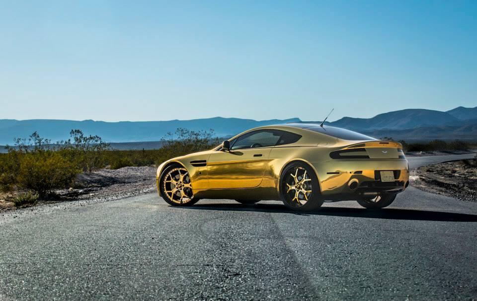 Gold On Gold Aston Martin Vantage V8 With Forgiato Wheels