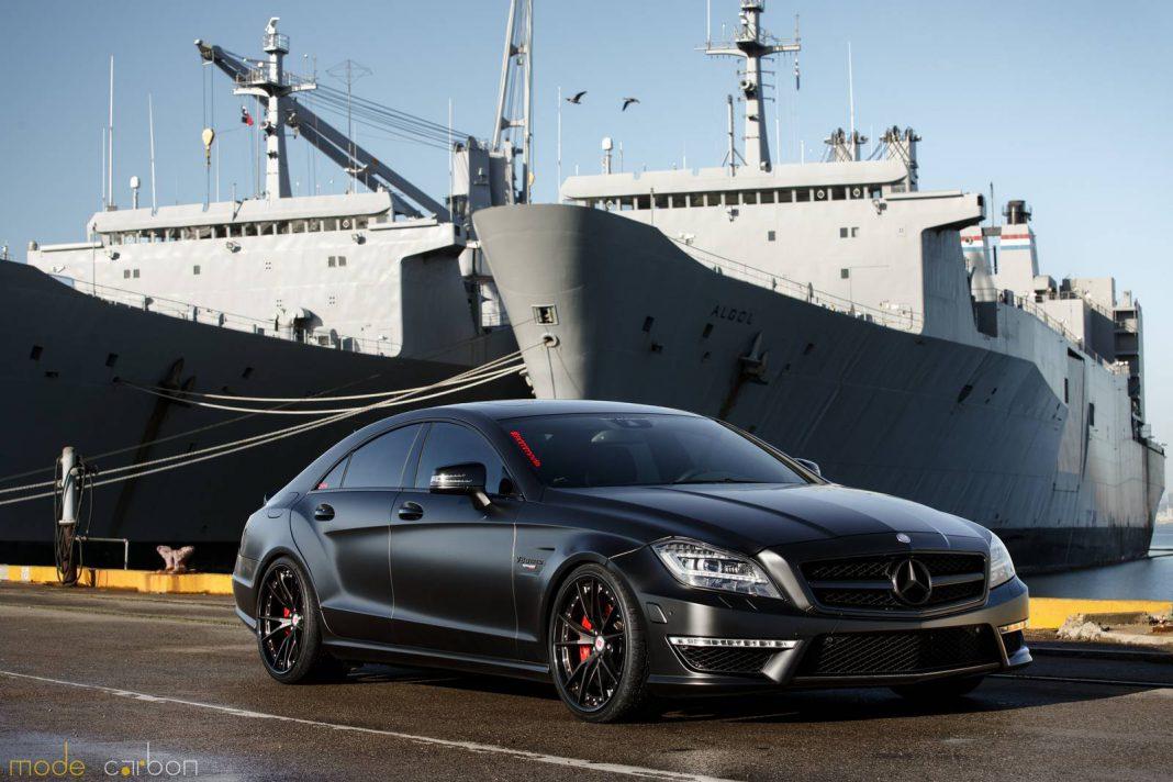 Matte black mercedes benz cls63 amg s by mode carbon for Mercedes benz cls63 amg