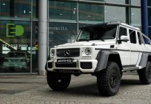 White Mercedes-Benz G 63 AMG 6x6 in Warsaw Poland