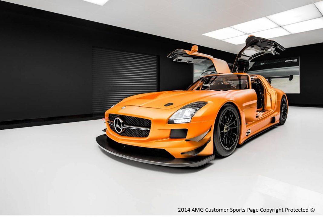 Orange Mercedes-Benz SLS AMG GT3