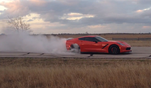 Ferocious Burnout in Chevrolet Corvette Stingray HPE700
