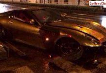 Golden Ferrari 599 GTB Crashes Hard in China