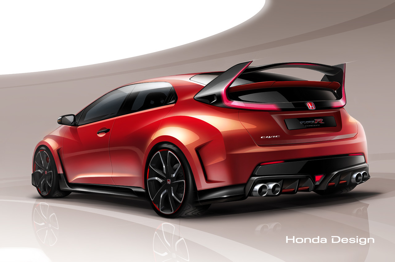 new 300hp honda civic type r concept teased before geneva gtspirit. Black Bedroom Furniture Sets. Home Design Ideas