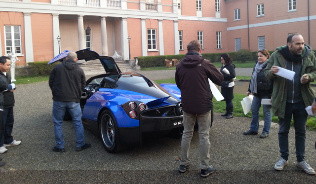 French Blue Pagani Huayra Spotted Filming Pepsi Commercial
