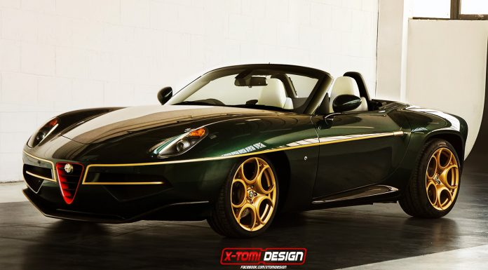 Green and Gold Alfa Romeo Disco Volante Spider Imagined