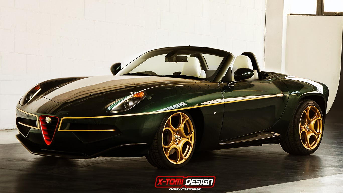 green and gold alfa romeo disco volante spider imagined. Black Bedroom Furniture Sets. Home Design Ideas