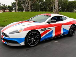 Union Jack Wrapped Aston Martin Vanquish