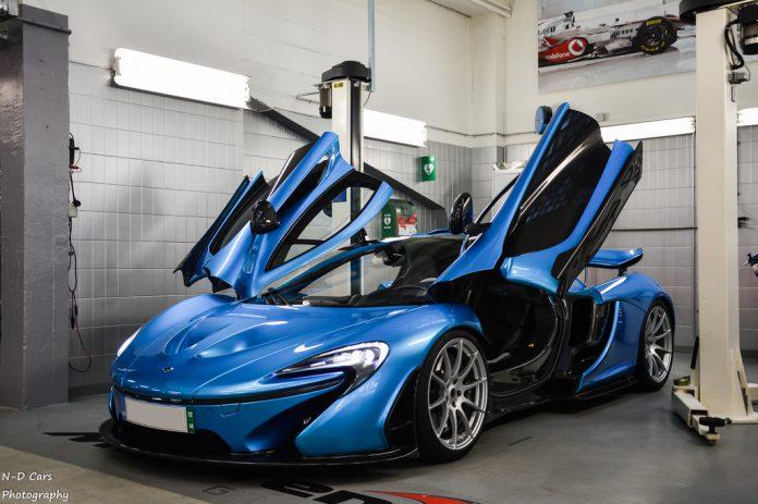 Baby Blue McLaren P1 Photoshoot in Geneva