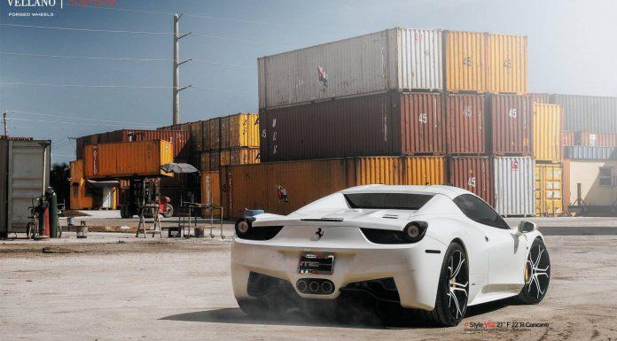 White Ferrari 458 Spider Lowered on Vellano Wheels