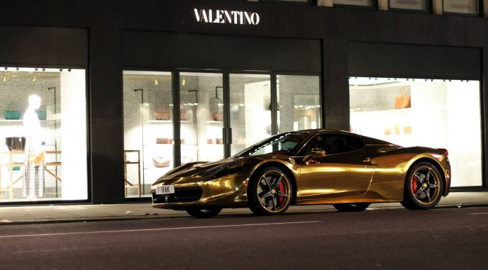 Photo Of The Day: Gold Chrome Ferrari 458 Spider in London