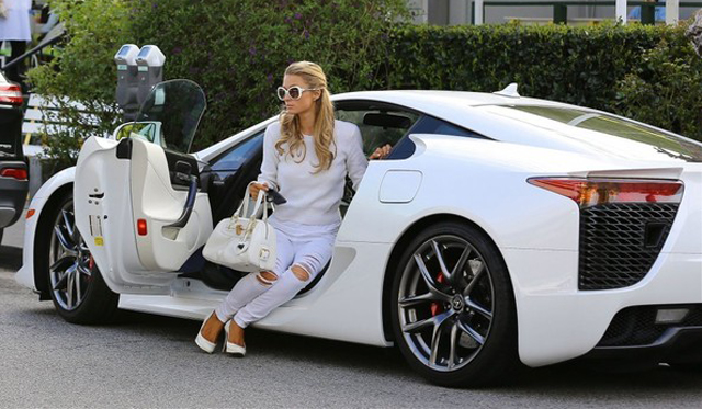 Paris Hilton Spotted With Her White Lexus LFA