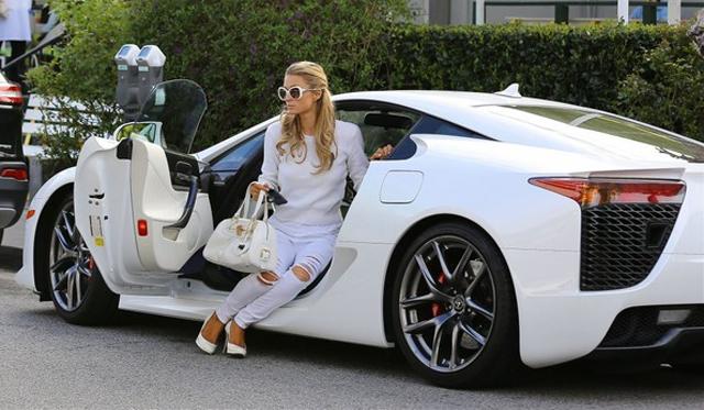 Paris Hilton Spotted With Her White Lexus LFA