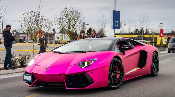 Matte Chrome Pink Lamborghini Aventador in Vancouver