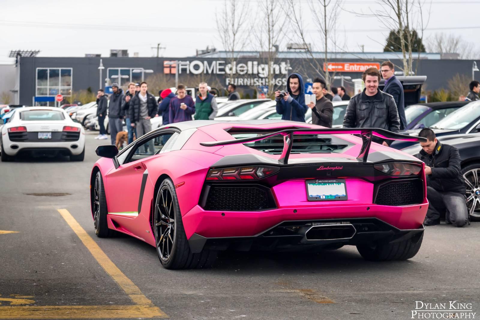Matte Chrome Pink Lamborghini Aventador In Vancouver Gtspirit