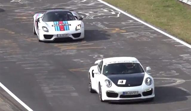 Porsche 918 Spyder Weissach Hits Nurburgring With 911 Turbo