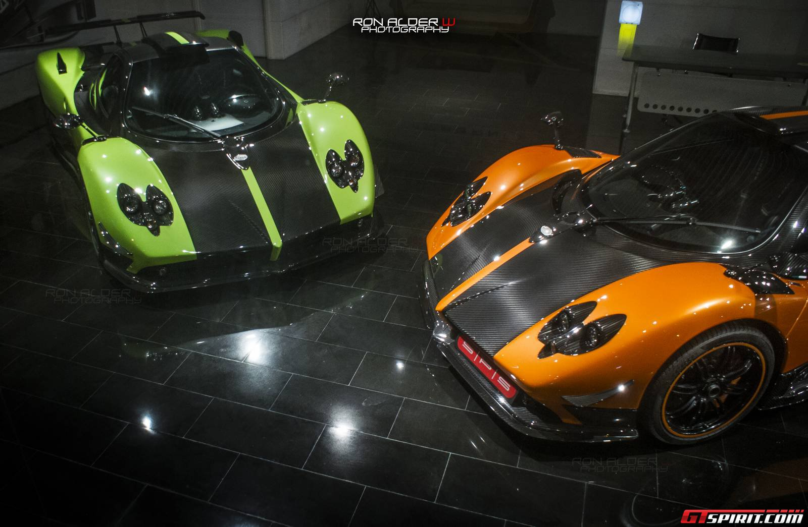 Green And Orange Pagani Zonda Cinque Coupes Spotted Together Gtspirit