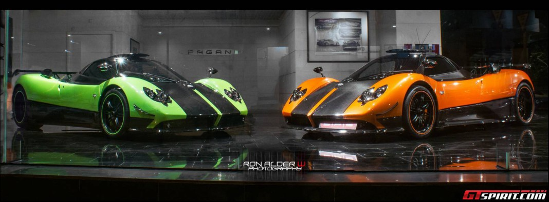 Green and Orange Pagani Zonda Cinque Coupes Spotted Together
