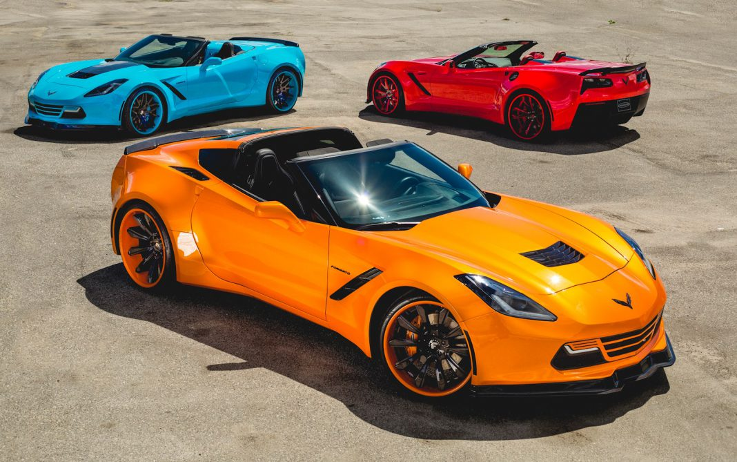 Three Bright Widebody C7 Corvettes Are Out Of This World!