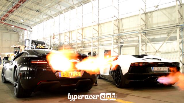 Video: McLaren 12C vs Lamborghini Aventador Flame-Battle