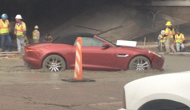 Jaguar F-Type Stuck in Cement