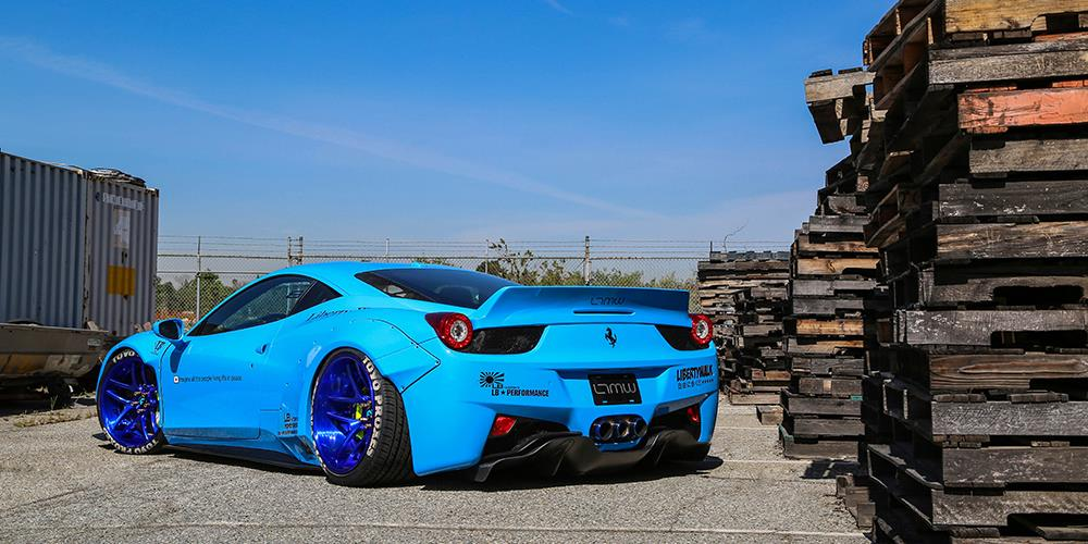 Liberty Walk Blue Ferrari 458 Italia Widebody Photoshoot