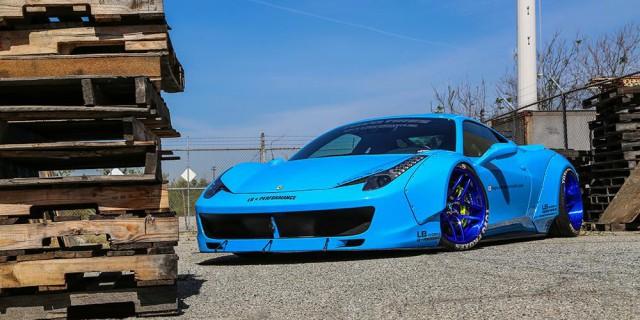 Liberty Walk Blue Ferrari 458 Italia Widebody Photoshoot