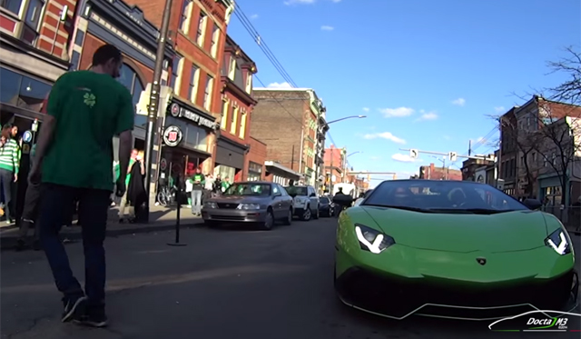 Epic Reactions in Green Lamborghini Aventador Roadster on St. Patricks Day!