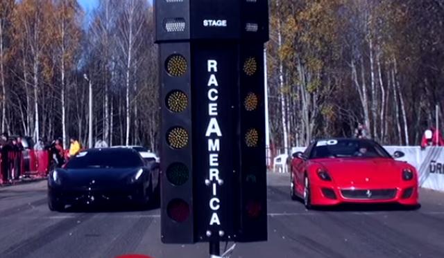 Ferrari 599 GTO Races 458 Italia and 700hp ML 63 AMG